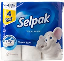Selpak Super Soft Toilet Paper - 140 Sheets x 3 Ply, Pack of 14+4 Rolls