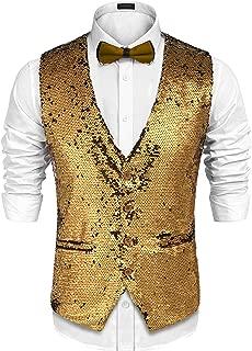 Men's Slim Fit Sequins Vest V-Neck Shiny Christmas Party Dress Suit Stylish Vest Waistcoat