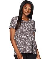 Anne Klein High-Low Short Sleeve Shirt - Dot Print Ity