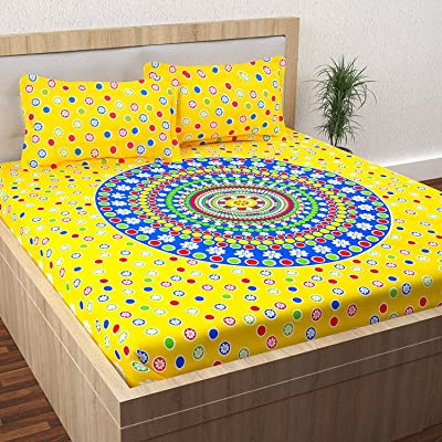 Story@Home Snakes and Ladder Game & Ludo, 100% Cotton Double Bedsheet Combo Set of 2 with 4 Pillow Covers for Kids, 152 TC, Fun & Sleep Series, Yellow, Red, Blue and Green