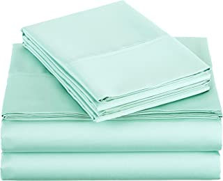 AmazonBasics 400 Thread Count Sheet Set, Full, Seafoam Green