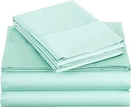AmazonBasics 400 Thread Count Sheet Set, Twin, Seafoam Green