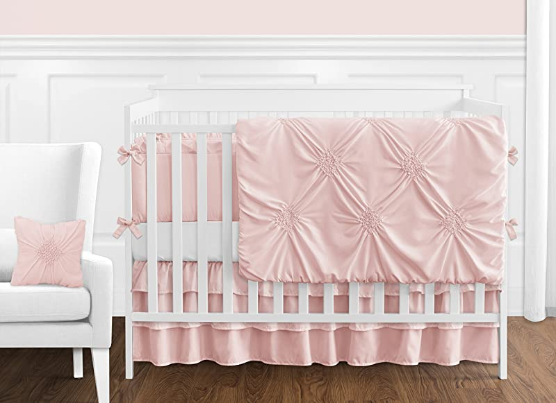 Solid Color Blush Pink Shabby Chic Harper Baby Girl Crib Bedding Set With Bumper By Sweet Jojo Designs 9 Pieces