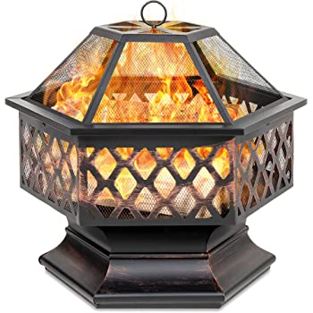 Amazon.com : Best Choice Products Hex-Shaped 24in Steel ... on Zeny 24 Inch Outdoor Hex Shaped Patio Fire Pit Home Garden Backyard Firepit Bowl Fireplace id=64562