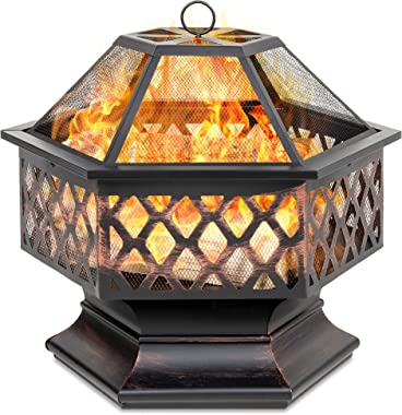 Best Choice Products Hex-Shaped 24in Steel Fire Pit for Garden, Backyard, Poolside w/Flame-Retardant Mesh Lid