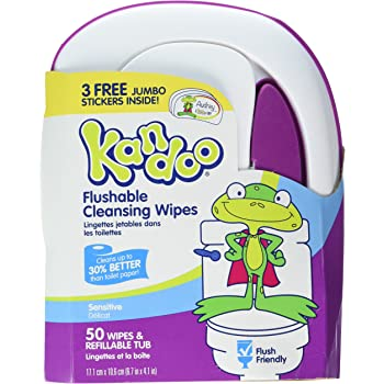 Kandoo Flushable Wipes for Babies and Kids Sensitive 50 Ct (2 Pack)