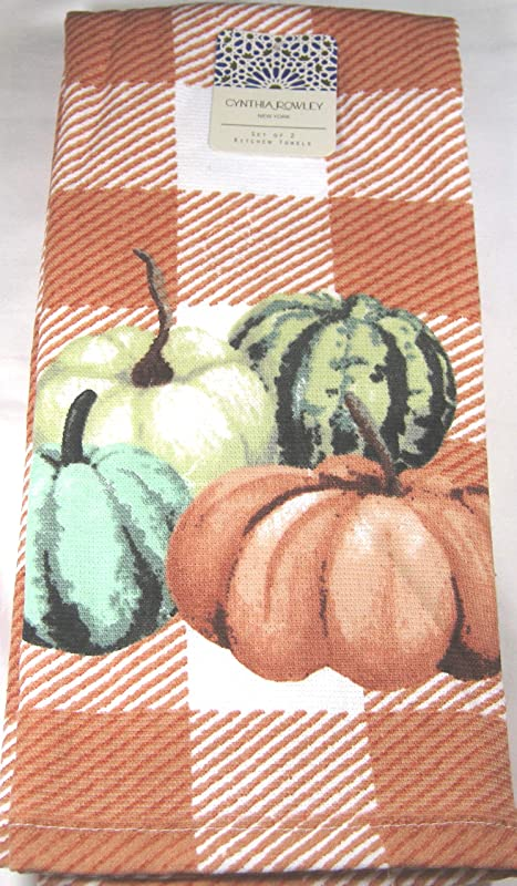 Cynthia Rowley Decorative Absorbent Kitchen Towel Set 2 Pk Autumn Pumpkins 18 X 28 100 Cotton