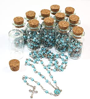 12 Bible Rosary in Glass Jar Bottle Beads Beaded Blue and Silver Catholic Crucifix Necklace Lot Holy