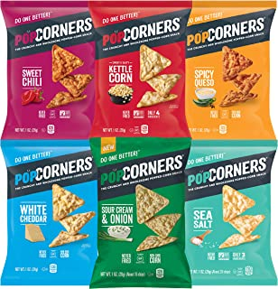 Popcorners Snacks Gluten Free Chips, 6 Flavor Variety Pack, (Pack of 20) (Assortment may Vary)