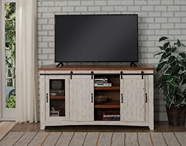 "Martin Svensson Home Taos 70"" TV Stand | Antique White & Aged Distressed Pine"