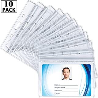 ID Card Name Tag Badge Holder – Waterproof Sealable Clear Plastic Horizontal ID Card Holder for Work ID, Key Card, Driver's License (Horizontal 10 Pack)