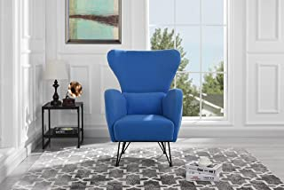 Mid-Century Modern Velvet Accent Armchair with Shelter Style Living Room Chair (Blue)