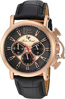 Lucien Piccard Men's 'Triomf' Quartz Stainless Steel and Leather  Watch, Color:Black (Model: LP-40018C-RG-01)