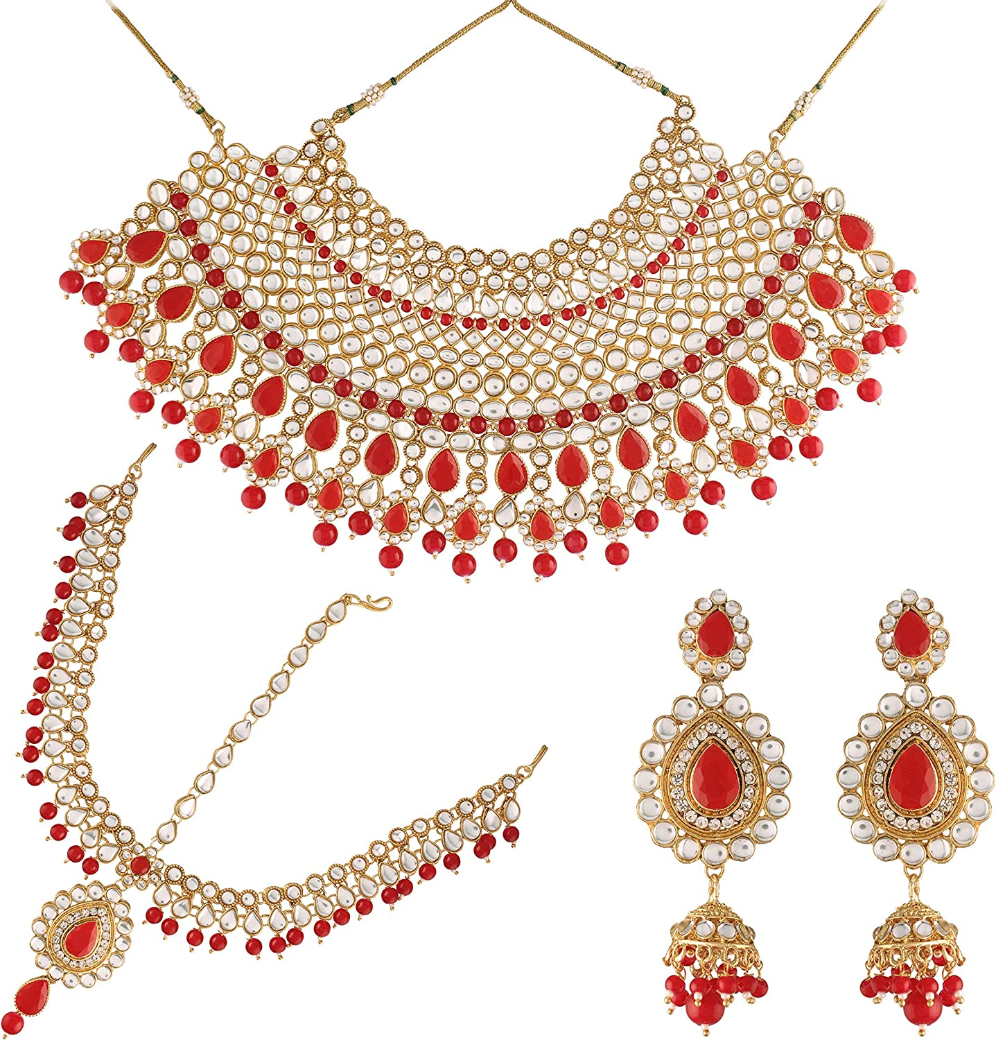 I Jewels 18K Gold Plated Traditional Handcrafted Faux Kundan Studded Bridal Jewellery Set Emblazoned with Earrings & Maang Tikka (IJ327R)
