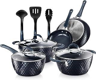 Nutrichef Nonstick Cookware Excilon Home Kitchen Ware Pots & Pan Set with Saucepan..