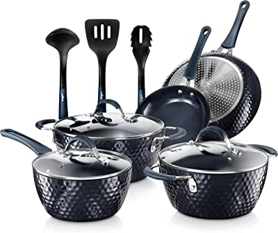 Amazon Com Nutrichef Nonstick Cookware Excilon Home Kitchen Ware Pots Pan Set With Saucepan Frying Pans Cooking Pots Lids Utensil Ptfe Pfoa Pfos Free 11 Pc Blue Diamond Kitchen Dining