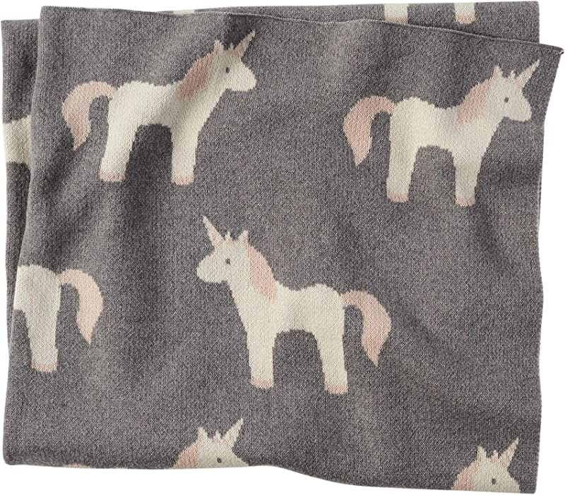 Mud Pie Soft Cotton Nursery Decor Unicorn Blanket Grey