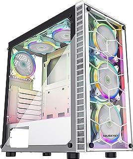 کیف بازی کامپیوتری MUSETEX ATX Mid-Tower با 6 عدد PCS × 120 mm LED ARGB Fans USB 3.0 Port Tempered Glass PC Chassis (G05S6-BB)