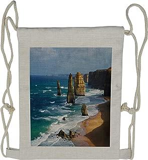 Lunarable Coastal Drawstring Backpack, Panoramic Australia Scenery, Sackpack Bag