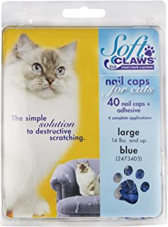 Feline Soft Claws Cat Nail Caps Take-Home Kit, Large, Blue