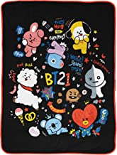 Jay Franco Line Friends BT21 Black & White Doodle Throw Blanket - Measures 46 x 60 inches, Kids Bedding - Fade Resistant S...