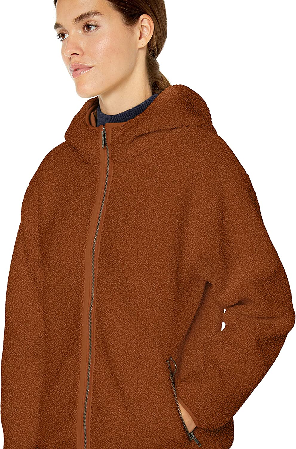Amazon-Marke: Daily Ritual Damen Teddy Bear Hooded Zip Jacket Caramel