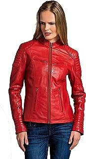 e5098d15e0ac0 Urban Leather UR-147 Coole Courte Veste en Cuir pour Femmes, Rouge, XL