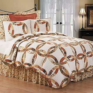 C&F Home Aurelia Wedding Ring 3 Piece Quilt Set All-Season Reversible Bedspread Oversized Bedding Coverlet, Full/Queen Size, Rust