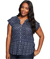 Lucky Brand - Plus Size Decanta Border Print Top