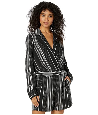 BCBGMAXAZRIA Stripe Long Sleeve Romper (Black Dots/Stripes) Women