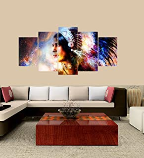 PEACOCK JEWELS [Large] Premium Quality Canvas Printed Wall Art Poster 5 Pieces / 5 Pannel Wall Decor Beautiful Young Indian Warrior Painting, Home Decor Pictures - with Wooden Frame