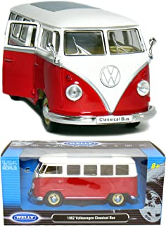 1962 VW Classic Bus 1:24 Scale (Red/White Top)