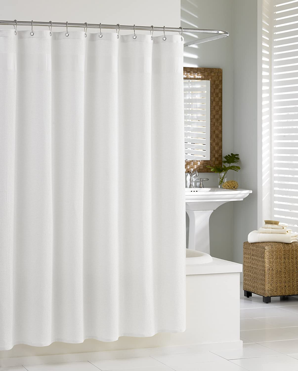 Kassatex SCS-115-WAF-W Cheap Popular product super special price Waffle White Curtain Shower