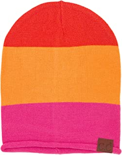 C.C CC Winter 2 in 1 Stretchy Slouchy Uncuff Cuffed Soft Roll Long Beanie Hat
