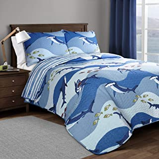 Lush Decor, Blue Shark Allover Quilt | Fish Ocean Wave Reversible 2 Piece Bedding Set, Twin