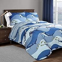 Lush Decor, Blue Shark Allover Quilt   Fish Ocean Wave Reversible 2 Piece Bedding Set, Twin
