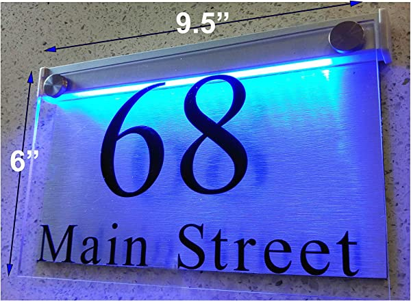 ThedisplayDeal LED Illuminated Modern House Numbers Address Plaque 9 5 X6 X1 Rectangle Clear Acrylic And Brushed Aluminum Background Double Panel Clear Acrylic BlueLED Large