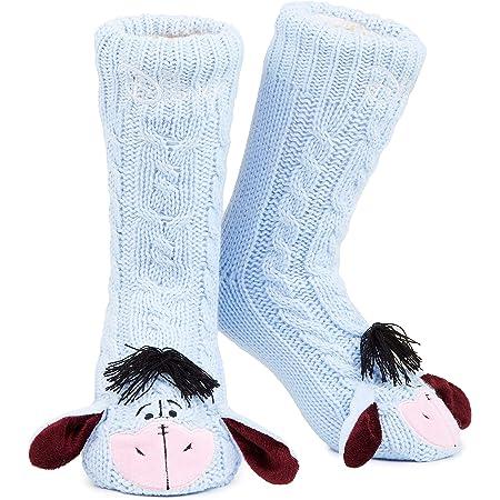 Disney Eeyore Slipper Socks, Cute Fleece Lined Non Slip Socks, Gifts for Women