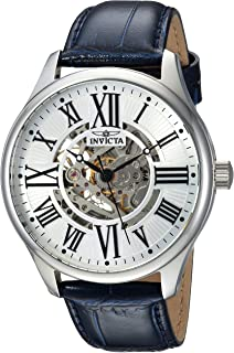 Invicta Men's Vintage Stainless Steel Automatic-self-Wind Watch with Leather Calfskin Strap, Blue, 22 (Model: 23634