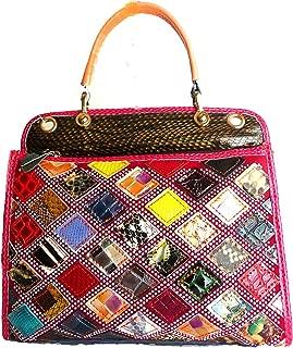 Multicolored Animal Print Snakeskin Look Genuine Leather Satchel Purse Handbag