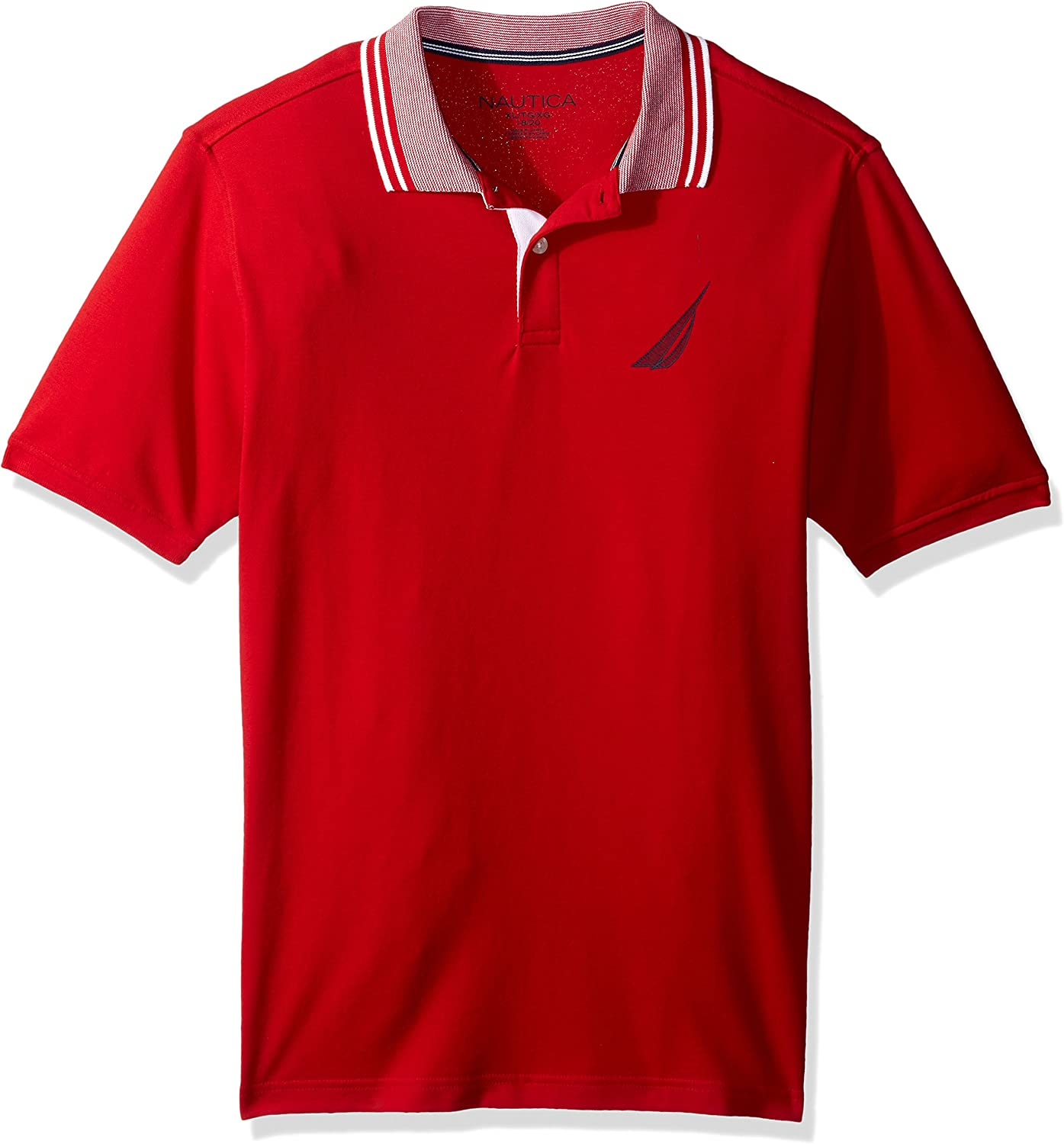 Nautica Boys Short Sleeve Solid Deck Polo With Tipped Collar
