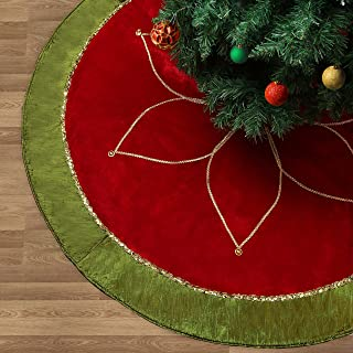 Valery Madelyn 48 inch Traditional Red Green Gold Christmas Tree Skirt with Flower Design,Themed with Christmas Ornaments (Not Included)