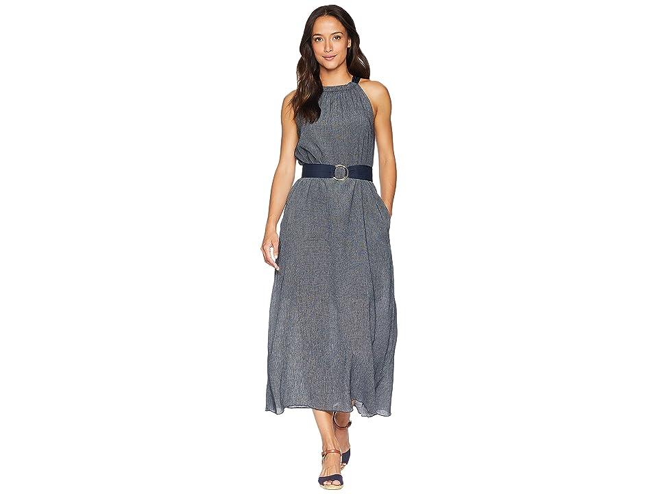 Ellen Tracy Halter Dress w/ Belt (Ink/White Combo) Women