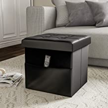 Lavish Home Foldable Storage Cube Ottoman with Pocket – Tufted Faux Leather Footrest Organizer for Bedroom, Living Room, Dorm or RV (Black),