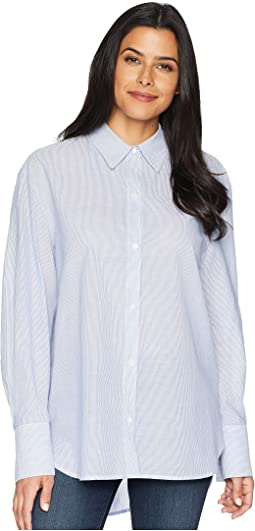 Shirting Stripe Button Front Top