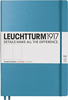 Leuchtturm1917 Master Slim Hardcover Dotted Notebook- 121 Numbered Pages, Nordic Blue
