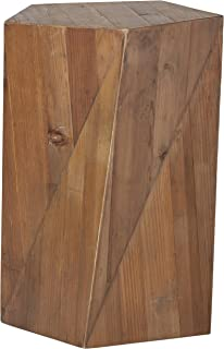 Rivet Rustic Reclaimed Fir Wood Side End Table, 16.5