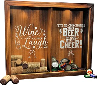 Napa Gift Store Wine Cork & Beer Cap Holder Shadow Box - Wall Mounted or Free Standing - Wine & Bar Decor for Him & Her - Rustic Stained Wood - 11