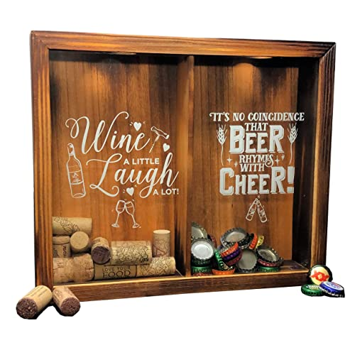 Wine Cork & Beer Cap Holder Shadow Box, Wall Mounted or Free Standing, Wine & Bar Decor for Him & Her, Rustic Stained Wood, 11  x 13