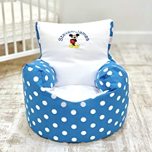 Childrens Kids Toddler PRE Filled Personalised Bean Bag Chair SEAT Mickey Mouse Boys  Next Day Dispatch